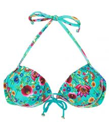 Blue push-up balconette top with flowers - SOUTIEN BLOOM BALCONET