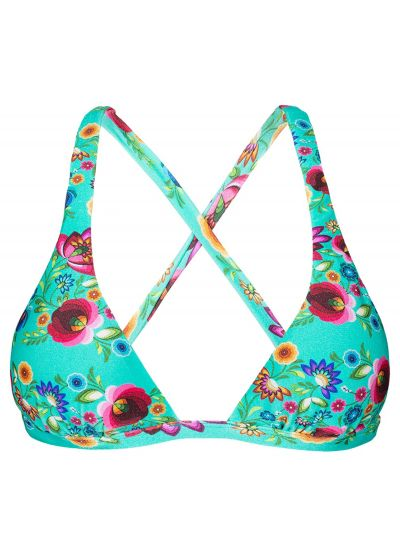 Blue floral print halterneck triangle top with criss-cross back - SOUTIEN BLOOM CORTINAO