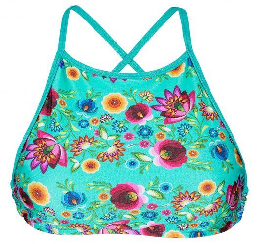 Blue flower print cross back crop top style bathing suit top - SOUTIEN BLOOM CROPPED