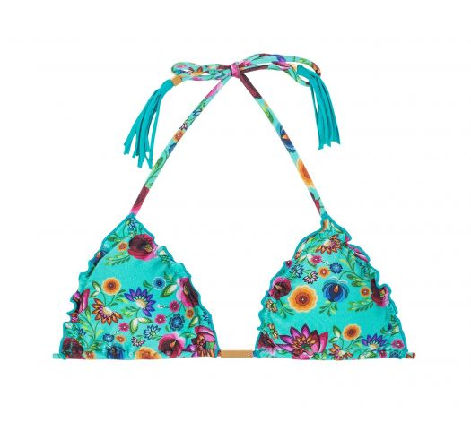 Blue floral triangle top with frilly edges - SOUTIEN BLOOM FRUFRU