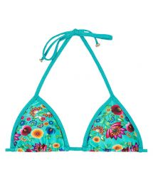 Blue floral print triangle bikini top with lurex straps - SOUTIEN BLOOM RADIANTE TRI