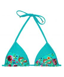 Bright blue floral print triangle bikini top - SOUTIEN BLOOM RECORTE