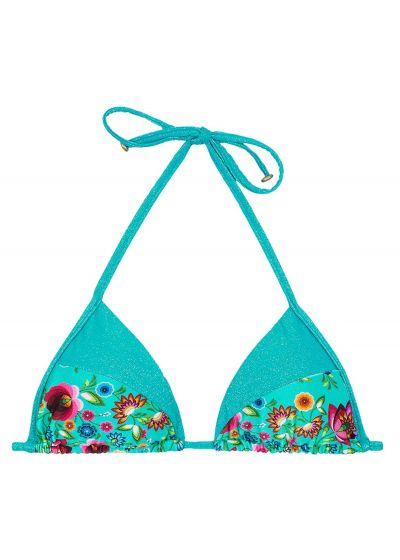 Bright blue floral print triangle bikini top - SOUTIEN BLOOM RECORTE