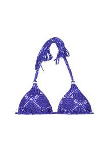 Triangel övredel med blått tryck, långa fransar - SOUTIEN BLUEJEAN BOHO