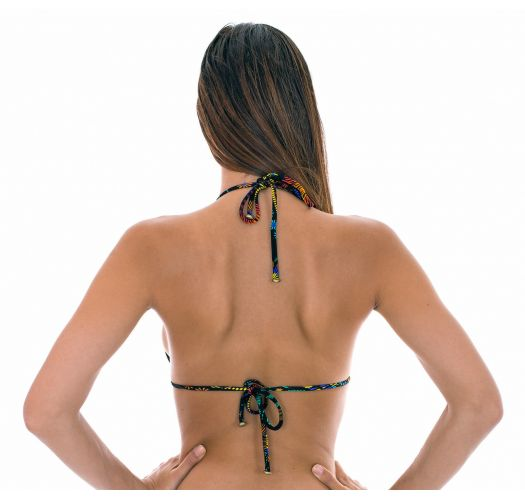 Multicolour printed triangle bikini top with small side rings - SOUTIEN BORDADO CHEEKY