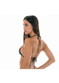 Multicolour printed triangle bikini top with small side rings - SOUTIEN BORDADO CHEEKY