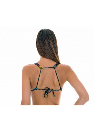 Multicolour printed fixed triangle scarf bikini top - SOUTIEN BORDADO CORTINAO