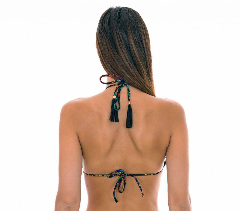 Black patterned top with frilly edges - SOUTIEN BORDADO FRUFRU