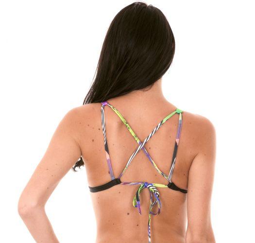Çapraz arkası ile geometrik desenli eşarp üçgen bikini üstü - SOUTIEN BOSSA BLACK