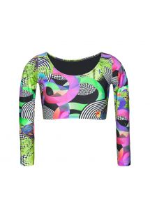 Long-sleeved multicoloured swimsuit crop top - SOUTIEN BOSSA FRANJA