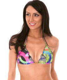 Geometric print triangle bikini top with pompon accents - SOUTIEN BOSSA FRUFRU