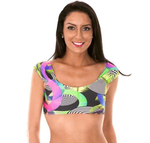 Off-the-shoulder swimsuit crop top, geometric pattern - SOUTIEN BOSSA SHOULDER