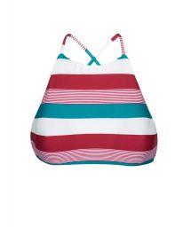 Кроп-топ купальника в полоску трёх цветов - SOUTIEN BUZIOS SPORTY