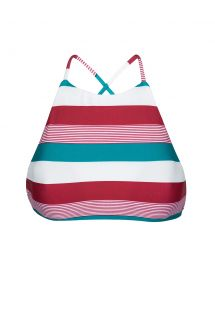 Crop top swimsuit top with three-coloured stripes - SOUTIEN BUZIOS SPORTY