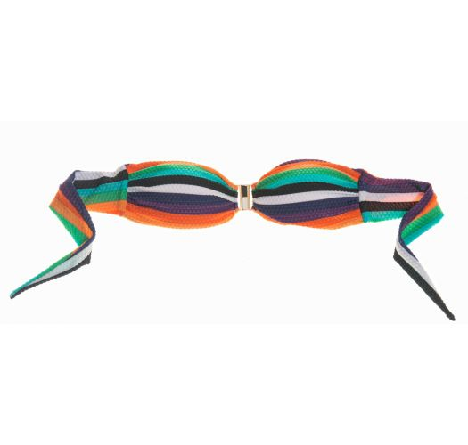 Barevný proužkovaný bandeau top je z materiálu s plastickým vzorkem a zdobí jej kovová spona - SOUTIEN CANABRAVA