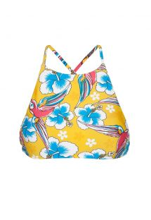 Yellow printed swimsuit crop top, cross-over back - SOUTIEN CANARINHO SPORTY