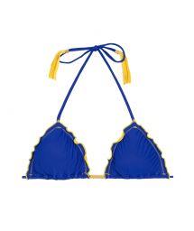 Triangle top, blue pompoms, yellow fringes - SOUTIEN COLOR YELLOW BLUE