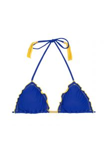 Triangle top, blue pompoms, yellow fringes - SOUTIEN COLOR YELLOW BLUE