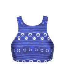 Blue print swimmer-back crop top - SOUTIEN COOL JEAN SPORTY