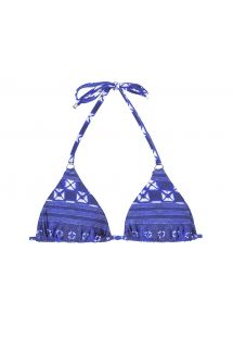 Blue print slide triangle bikini top - SOUTIEN COOL JEAN TRI