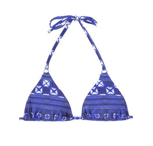 Blue print slide triangle bikini top - SOUTIEN COOL JEAN TRI
