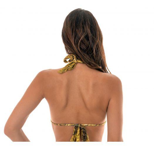 Sliding scarf triangle top in a gold print - SOUTIEN CORTINÃO RELUZENTE