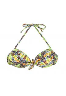 Fluorescent yellow printed bandeau top with knot - SOUTIEN CORUJAS