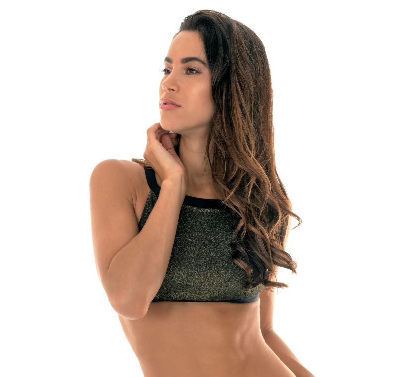 Crop top in lurex and black contours - SOUTIEN CROPPED RADIANTE