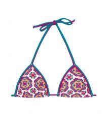 Slidingtriangle bikini top with mandala flower pattern - SOUTIEN DALIA ROSADA