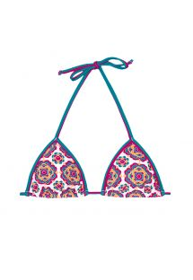 Sliding triangle bikini top with mandala flower pattern - SOUTIEN DALIA ROSADA
