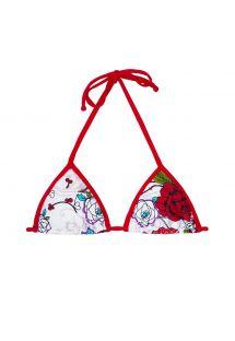 Parte superior de bikini con forma triangulary estampado deflores blanco y rojo - SOUTIEN DALIA VERMELHA