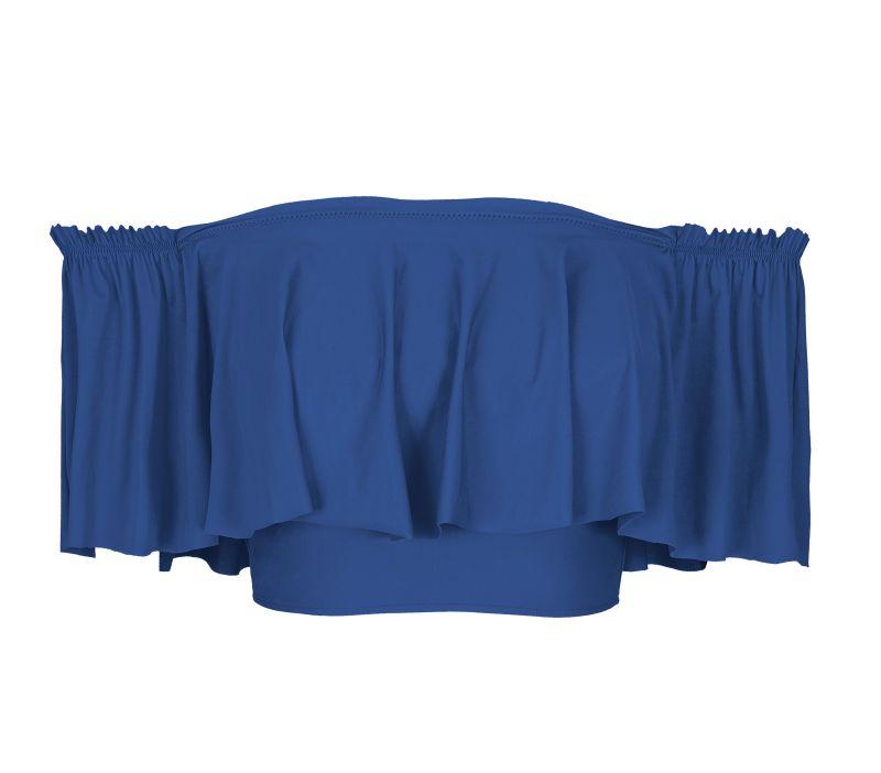 Blue off-the-shoulder swimsuit crop top with wide frill - SOUTIEN DENIM BABADO