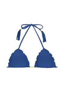 Denim blue ruched triangle bikini top with fringed tassels - SOUTIEN DENIM FRUFRU