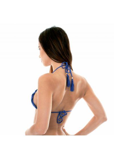 Denim blue ruched triangle bikini top with fringed tassels - SOUTIEN DENIM FRUFRU