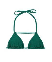 Grøn tekstureret bikini top med pynterem i nedringningen - SOUTIEN DUNA GREEN DETAIL