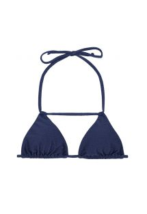 Blue textured bikini top with neck strap detail - SOUTIEN DUNA MARINHO DETAIL