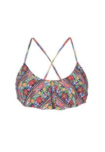 Floral bikini top with frills - SOUTIEN FOLK FLUTTER CROP