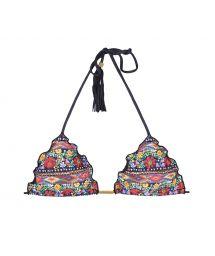 Blommig triangel bikini övredel med svarta tofsar - SOUTIEN FOLK FRUFRU