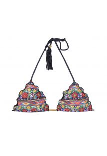 Floral triangle bikini top with black tassels - SOUTIEN FOLK FRUFRU