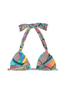 Multi-coloured print scarf triangle top - SOUTIEN FRACTAL MARINA