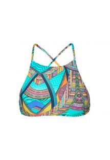 Colour print crop bikini top with cross back - SOUTIEN FRACTAL SPORTY