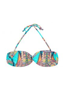 Colour print bandeau top with rigid cups - SOUTIEN FRACTAL SUN