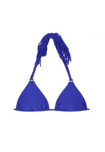 Dark blue triangle bikini top with long tassels - SOUTIEN FRANJA ZAFFIRO
