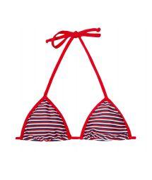 Red/white/blue striped triangle bikini top - SOUTIEN GAROUPA