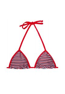 Red/white/blue striped triangle bikini top - SOUTIEN GAROUPA