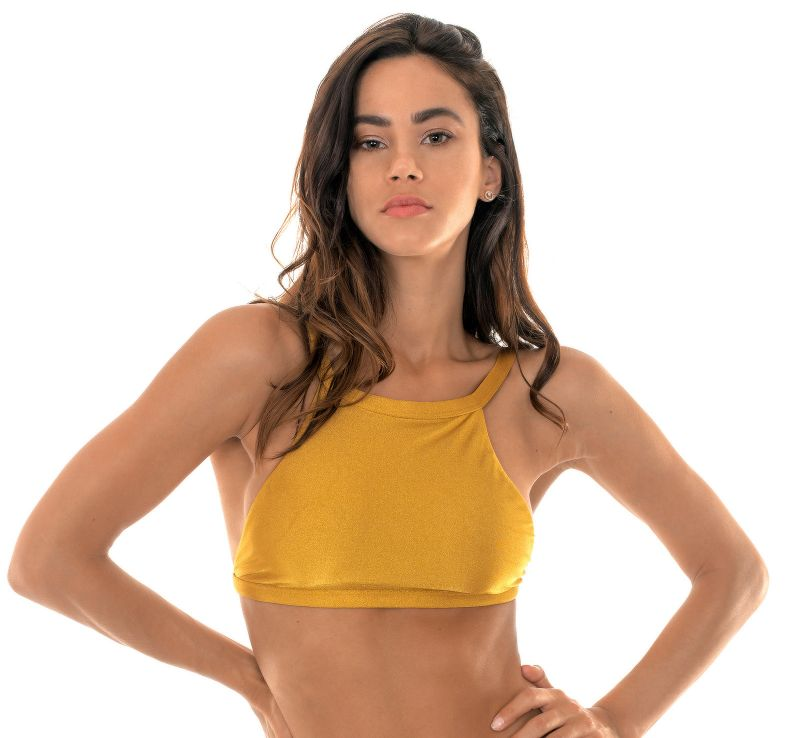Gold crop-top bikini with straight straps - SOUTIEN GOLD CROPPED
