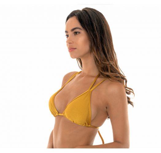 Gold double strap triangle bikini top - SOUTIEN GOLD DUO
