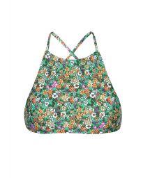 Green floral swimsuit crop top, cross-over back - SOUTIEN IEMANJA SPORTY