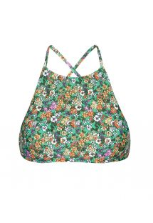 Green floral swimsuit crop top, cross-over back - SOUTIEN IEMANJA SPORTY