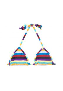 Multi-coloured striped triangle bikini top - SOUTIEN INHAMBUS MICRO